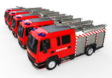Emergency fleet. 3D render image representing a fleet of fire trucks Royalty Free Stock Photo