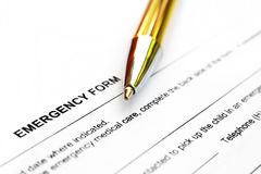 Emergency form Stock Photo