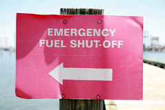 Emergency Fuel Shut-off Sign Stock Images