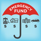 Emergency Fund Icons. With Umbrella Stock Photo