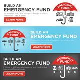 Emergency Fund Icons with Umbrella. Financial Emergency Fund Icons with Umbrella - Home, Car, Job, Hospital Icons Stock Image