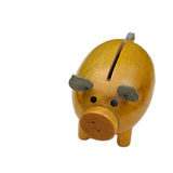Emergency funds. Old wooden piggy bank over white background Stock Photography