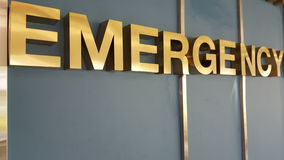 Emergency gold sign. EOC Emergency operations center mission Stock Image