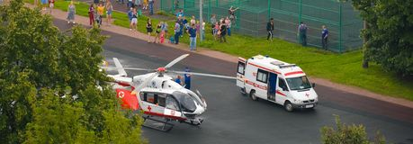 Emergency helicopter Stock Image