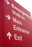 Emergency hospital entrance sign. Shows patients where to go Royalty Free Stock Image