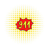 Emergency 911 icon, comics style Royalty Free Stock Photo