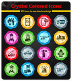 Emergency icon set. Emergency crystal color icons for your design Stock Images