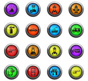 Emergency icon set. Emergency icons on color round glass buttons for your design Royalty Free Stock Photography