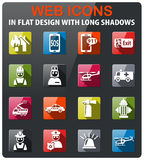 Emergency icon set. Emergency icons set in flat design with long shadow Stock Images