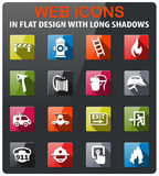 Emergency icon set. Emergency icons set in flat design with long shadow stock illustration