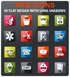 Emergency icon set. Emergency icons set in flat design with long shadow Stock Photos