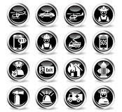 Emergency icon set. Emergency icons on stylish round chromed buttons Stock Photos