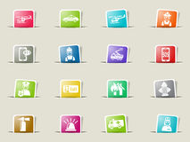 Emergency icon set. Emergency web icons on color paper bookmarks Royalty Free Stock Photo