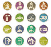 Emergency icon set. Emergency web icons on color paper labels Stock Photos