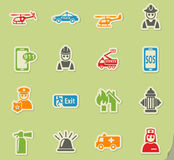 Emergency icon set. Emergency web icons on color paper stickers for user interface Stock Image