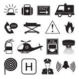Emergency Icons Collection. Emergency icons in black and white collection Royalty Free Stock Image