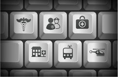 Emergency Icons on Computer Keyboard Buttons.  Stock Photo