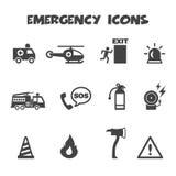 Emergency icons. Mono vector symbols Stock Image