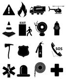 Emergency icons set. Emergency  icons set in black Stock Image