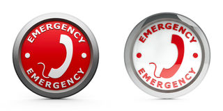 Emergency icons. Web buttons emergency isolated on white background, three-dimensional rendering Royalty Free Stock Images
