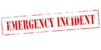 Emergency incident. Rubber stamp with text emergency incident inside, illustration stock photography