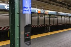 Help point in a subway station in New York City Royalty Free Stock Photo
