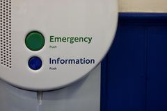 Emergency and information point with buttons - image stock photo