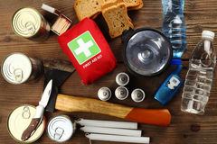 Emergency Items close up. Items for emergency on wooden table Royalty Free Stock Image