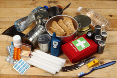 Emergency Items. Items of emergency on wooden table Royalty Free Stock Photography