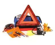 Emergency kit for car. Isolated on white background Stock Photo