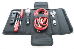 Emergency kit , car jack, jumper cables for car royalty free stock images