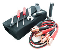 Emergency kit , car jack, jumper cables for car Royalty Free Stock Photos