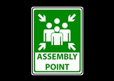 Assembly point area signs label for emergency. Emergency label symbol for worker and industry buliding construction Royalty Free Stock Image