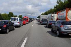 Emergency Lane during a traffic jam Stock Photo