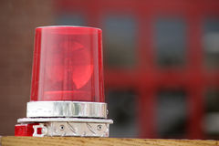 Emergency Light. On the top of a fire truck- room for text on right Stock Photo