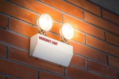 Emergency light auto lighting working. When power outage by battery stock photos