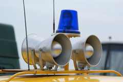 Emergency Light blue horns and speaker Royalty Free Stock Image