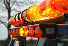 Emergency Lights. A close up shot of emergency rescue vehicle lights during the early evening. The focus is on the center Royalty Free Stock Photos