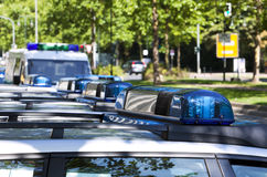Emergency lights of german police cars Royalty Free Stock Photography