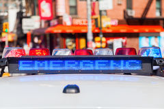 Emergency lights of a police car in NYC Stock Photos