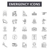 Emergency line icons, signs, vector set, outline illustration concept royalty free illustration