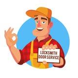Emergency Locksmith Service Vector. Professional Locksmith Mechanic Work. Flat Cartoon Illustration. Locksmith Door Service Vector. Professional Master Repairman Royalty Free Stock Photos