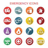 Emergency long shadow icons. Flat vector symbols Stock Image