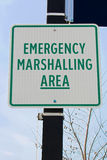 Emergency marshalling area sign on a street pole Stock Photo
