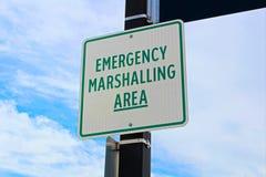 Emergency marshalling area sign on a street pole Royalty Free Stock Image