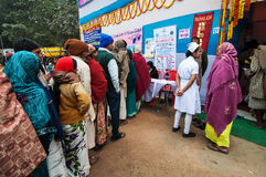 Emergency medical camp at Babughat, Kolkata, India. BABUGHAT, KOLKATA, WEST BENGAL / INDIA - 12TH JANUARY 2014 : Hindu devotees queing up for medicine at Stock Images