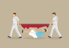Emergency Medical Services and Broken Stretcher Disaster Vector. Unfortunate man falls through a broken stretcher carried by two paramedic. Vector cartoon Stock Photos