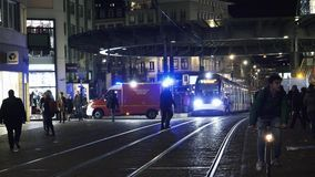 Emergency medical team near tramway station. Strasbourg, France - Circa 2017: Homme de Fer tramway station in Strasbourg with emergency medical first aid car stock video