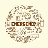 Emergency minimal thin line icons set. Vector illustration design elements Royalty Free Stock Photos