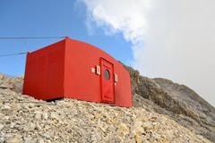 Emergency mountain shelter bivouac, Wetterstein Royalty Free Stock Image